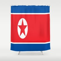 korea Shower Curtains featuring Flag of North Korea by Neville Hawkins