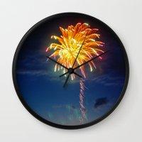 minnesota Wall Clocks featuring Minnesota Fireworks by Justine Joy