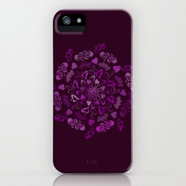 Purple love hearts mandala iPhone Case