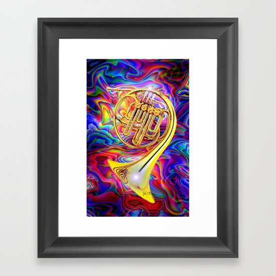 Psychedelic French horn Framed Art Print