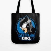 gotham Tote Bags featuring Gotham Girl by Buby87