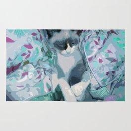 Nestled Kitten in Comforter Cloud Rug