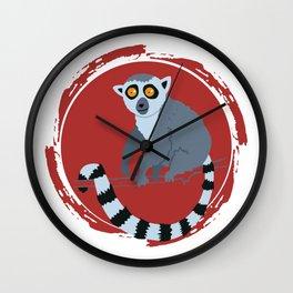 Lemur Colorful Red Wall Clock
