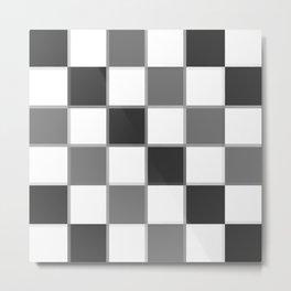 Slate & Gray Checkers / Checkerboard Metal Print