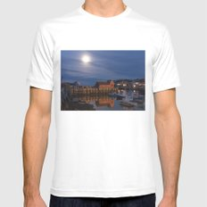 Rockport Harbor at night X-LARGE White Mens Fitted Tee