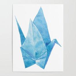 Blue Origami Paper Crane (watercolour) Poster