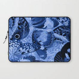 Blue Exotic Butterfly Wings and Scroll Collage Laptop Sleeve