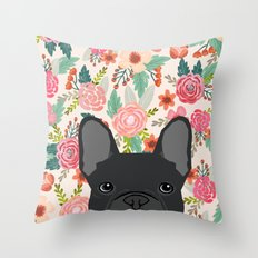 French Bulldog florals dog portrait pet art dog breeds custom frenchie gifts Throw Pillow