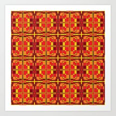 Red and Yellow Cross Pattern Art Print