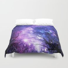 Black Trees Purple Blue Space Duvet Cover