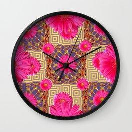 Fuchsia Gerbera Flowers & Grey Patterns Wall Clock