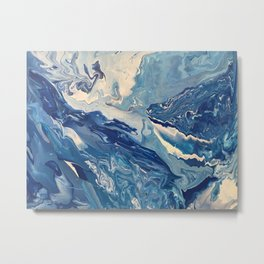 Curious whale & sea creatures Metal Print