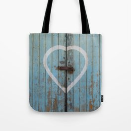 Rustic Blue Heart Tote Bag