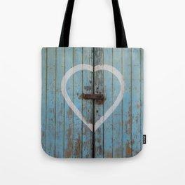 Rustic Blue Heart Tote Bag