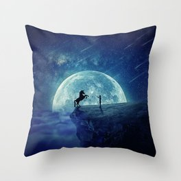 How to tame a unicorn? (night scene) Throw Pillow