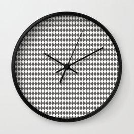 Pantone Pewter Gray Rippled Diamonds, Harlequin, Classic Rhombus Pattern Wall Clock