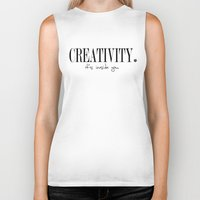 creativity Biker Tanks featuring CREATIVITY. by The LOL Project