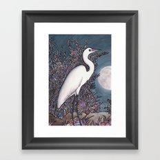 Egret in the Moonlight Framed Art Print
