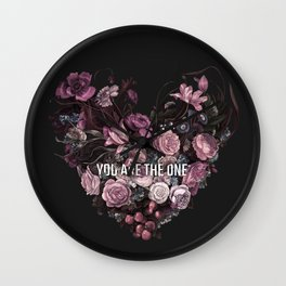 You Are The One // Floral Valentine's Heart Wall Clock