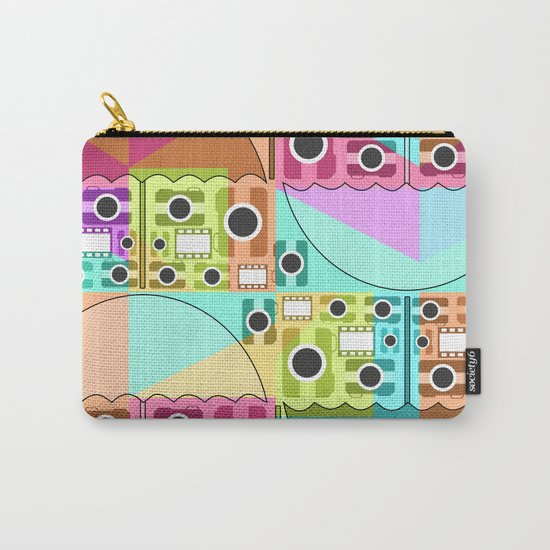 Camera pattern with colorful umbrellas Carry-All Pouch
