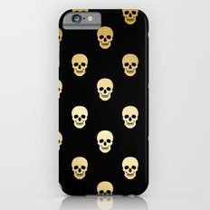 Gold Skull on black iPhone 6 Slim Case