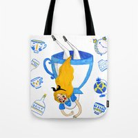 alice wonderland Tote Bags featuring Wonderland by Bethany Grace