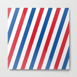 Blue, white and red stripes pattern Metal Print