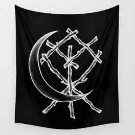 Crescent Moon Rune Binding at Midnight Wall Tapestry