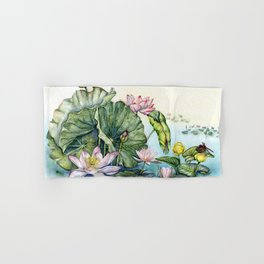 Japanese Water Lilies and Lotus Flowers Hand & Bath Towel