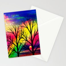 rainbow sunset Stationery Cards