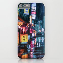 Cyberpunk Aesthetic in Tokyo at Night iPhone Case