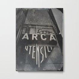Bologna B&W Street Photography Vintage Shop Sign Metal Print