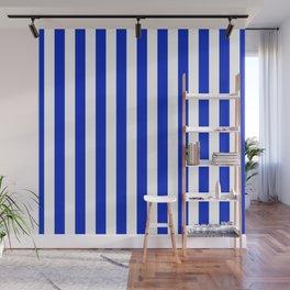 Cobalt Blue and White Vertical Beach Hut Stripe Wall Mural