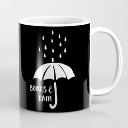 Books and Rain - Black and White (Inverted) Coffee Mug