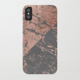 Modern rose gold marble inverted color block grey cement concrete iPhone Case
