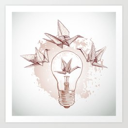 Origami paper cranes and light Art Print