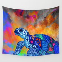 turtle Wall Tapestries featuring Turtle by Armyhu