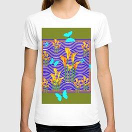 Moss Green Blue-Gold  Butterfly Floral Art T-shirt