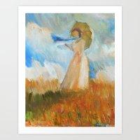 monet Art Prints featuring Monet Lady by KitaKita