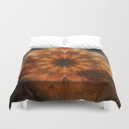 Surreal landscape in corrugated iron mandala Duvet Cover
