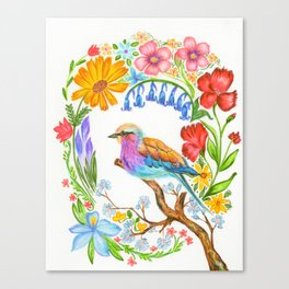 Bird and Flowers Canvas Print