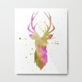 Watercolor deer head with antlers, Purple - Green - Orange Metal Print