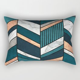 Abstract Chevron Pattern - Copper, Marble, and Blue Concrete Rectangular Pillow
