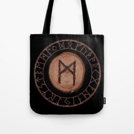 Mannaz - Wooden Celtic Rune of self, individuals, universe, family, loved ones, friends, devoted Tote Bag