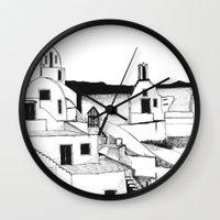 greek Wall Clocks featuring Greek Island by KostasK