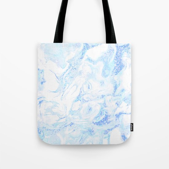White Marble with Pastel Blue Purple Teal Glitter Tote Bag