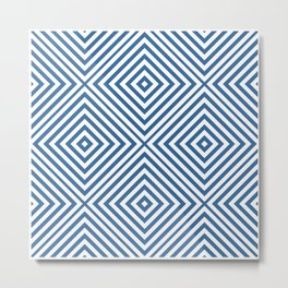 Azure Elegant Diamond Chevron Metal Print