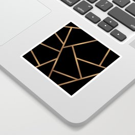 Black and Gold Fragments - Geometric Design Sticker