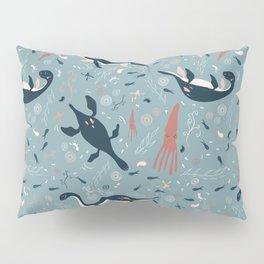 Prehistoric Seas: Playful Plesiosaur in Blue Pillow Sham