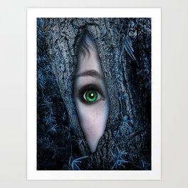 Big green eye in a blue tree Art Print